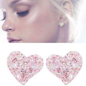 Swarovski Alana Pink Paved Crystal Heart Earrings